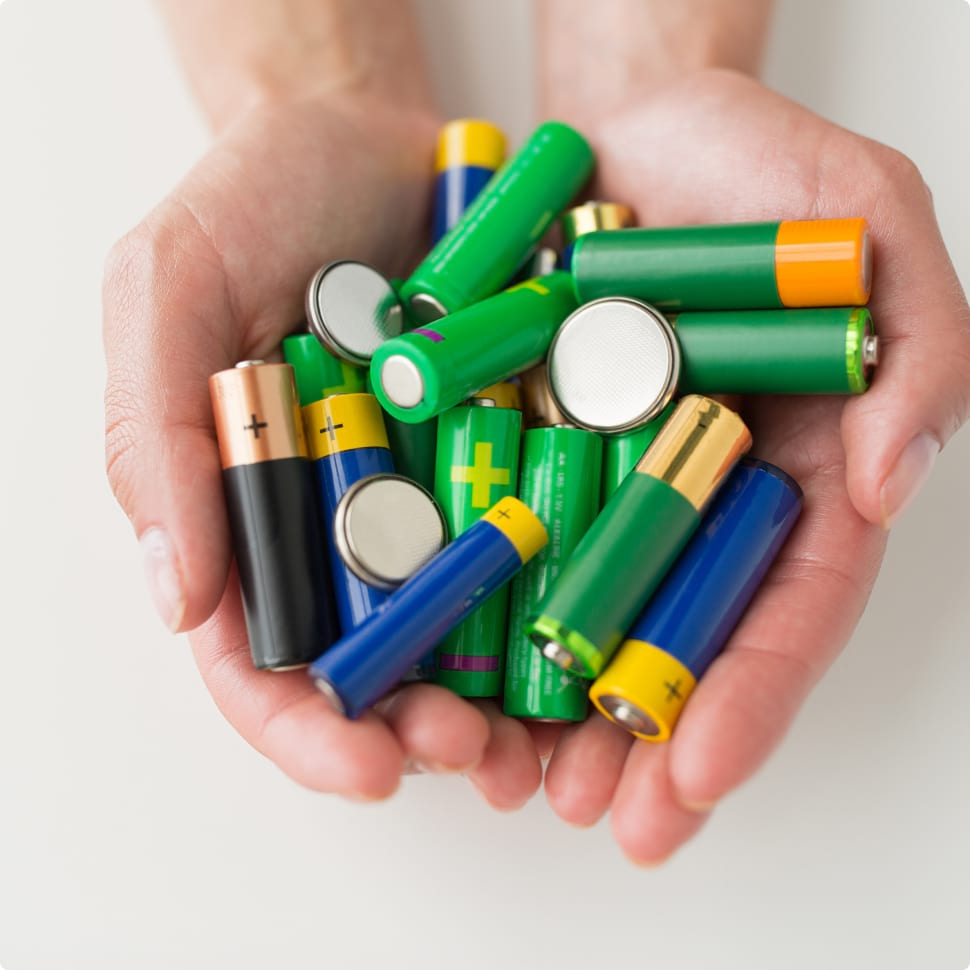 handful of dead batteries